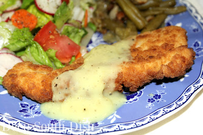 Nubby Fried Chicken Planks - a grown up version of chicken tenders, served here with a homemade chicken gravy, quick fix green beans and a garden salad.