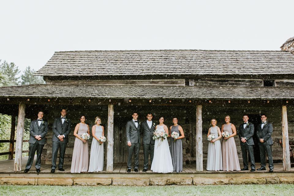 rainy bridal party photo