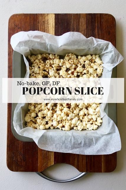 no bake popcorn slice - gluten free, dairy free - www.mywholefoodfamily.com