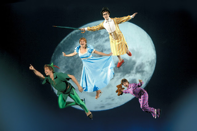 Peter Pan and Wendy flying at Disney on Ice