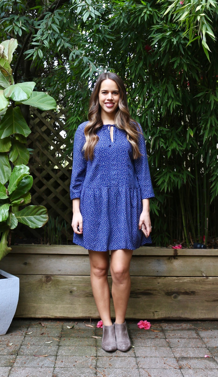 Jules in Flats - Tie-Neck Swing Dress with Ankle Boots (Business Casual Spring Workwear on a Budget)