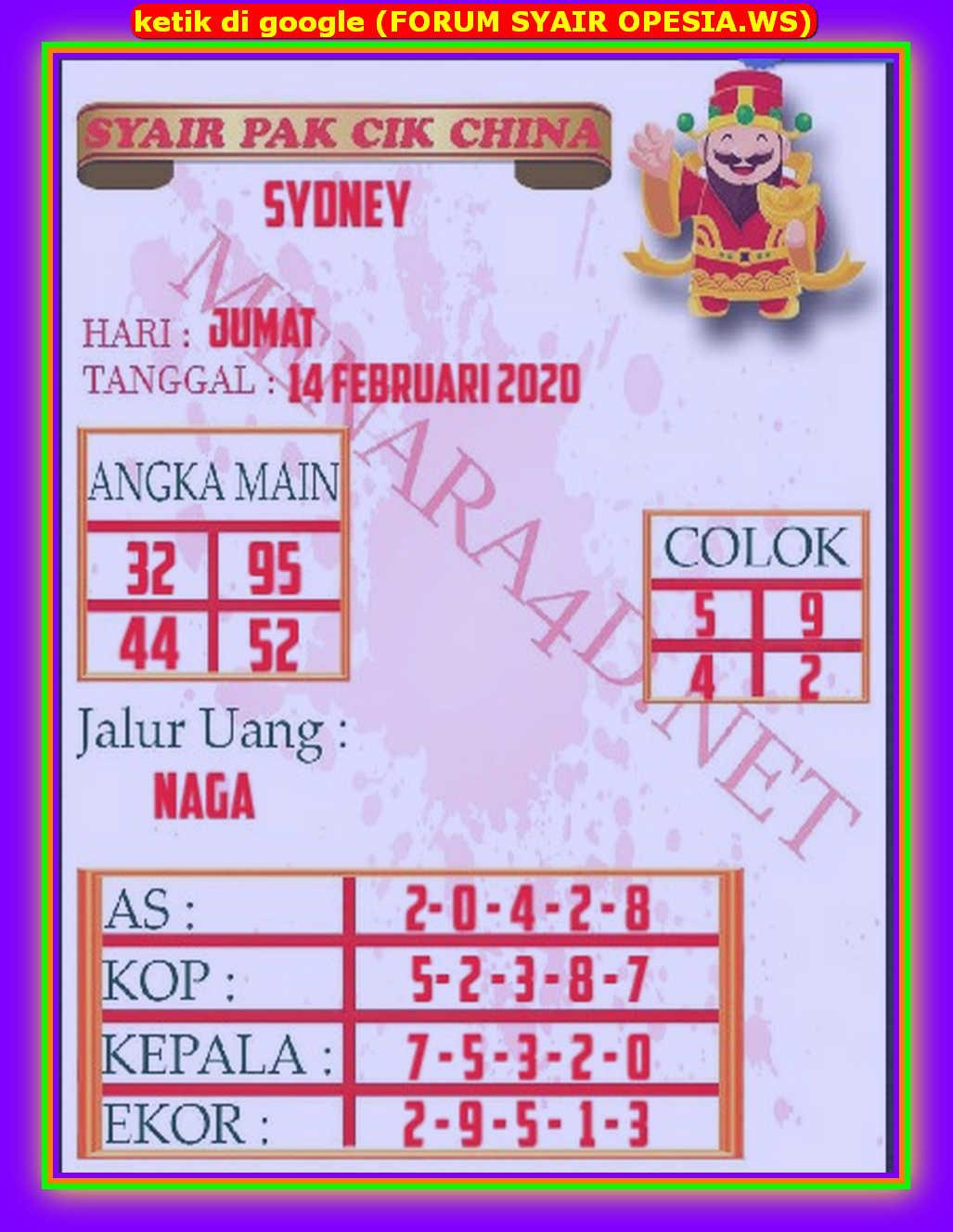 Kode syair Sydney Jumat 14 Februari 2020 94