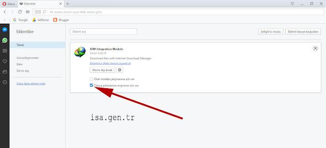Dosya adreslerine erişimine izin ver Opera