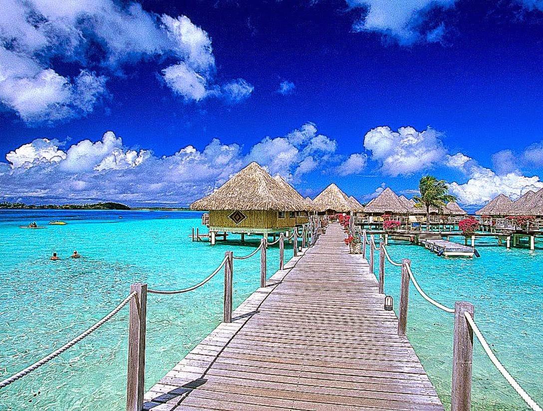 Tropical Island Beach Scenery: Beautiful Beach Scenery Wallpaper
