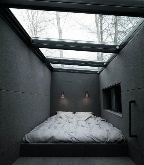 Wochenendhaus aus Stahl und Glas - Schlafzimmer