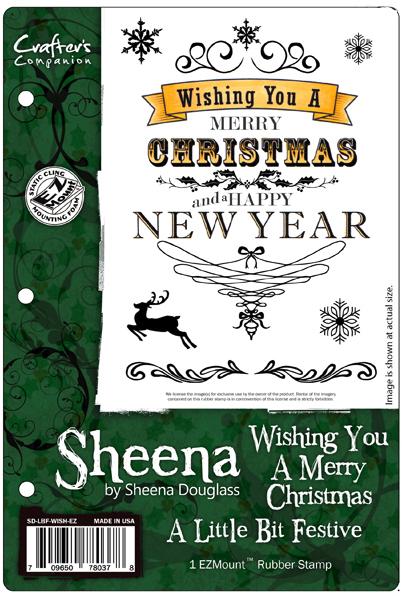 Crafters Companion A Little Bit Festive Wishing You A Merry Christmas  Stamp Set by Sheena Douglass
