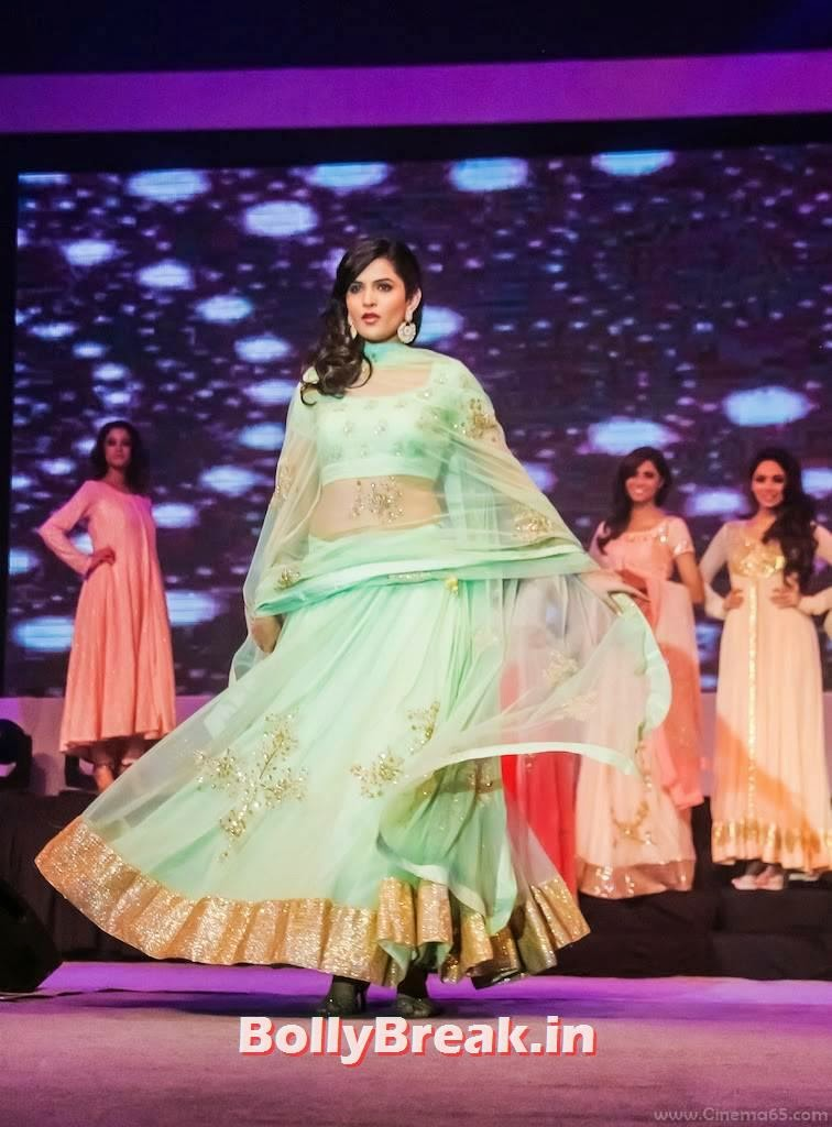 Deeksha Seth images, Deeksha Seth in Green anarkali Dress - Ramp Walk Pics