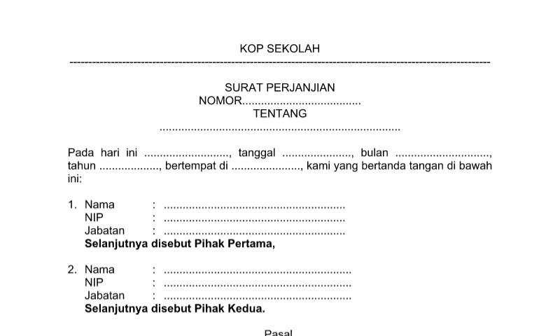 Format Surat Perjanjian pada Administrasi Tata Usaha Sekolah (TU)