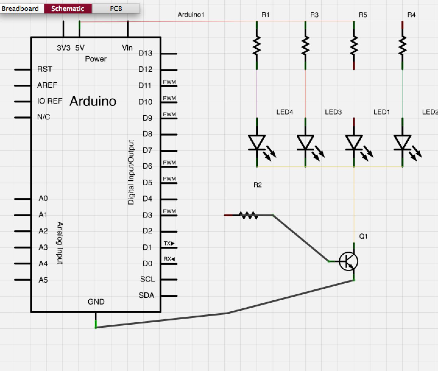 Amplification via a NPN bipolar transistor.