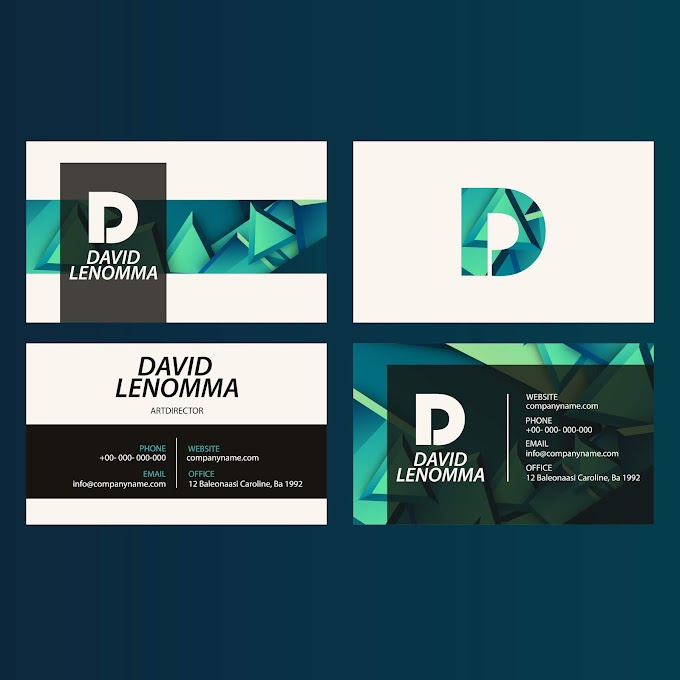 Business cards templates modern 3d shapes decor Free vector