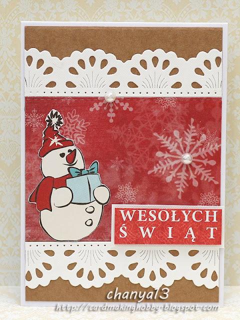 świąteczna karteczka z bałwankiem