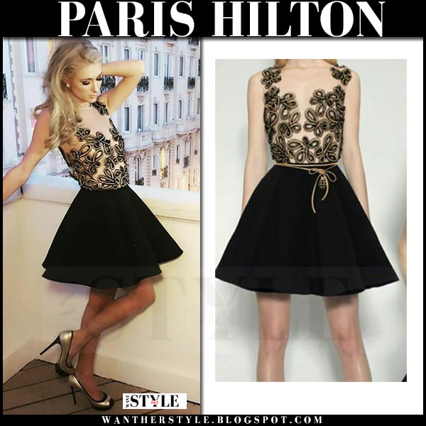 Paris Hilton in black and gold mini dress marc kirsten what she wore cannes 2016