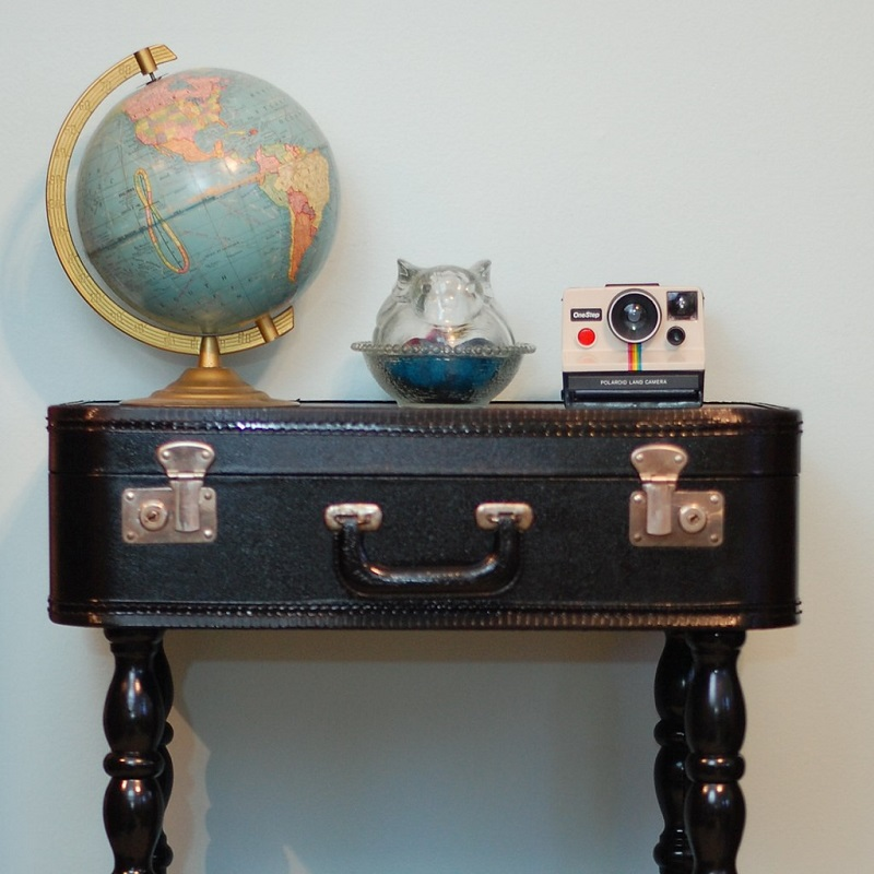 Turn your vintage suitcase into a multi-purpose side table