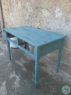 Restauro tavolo scrivania effetto shabby chic