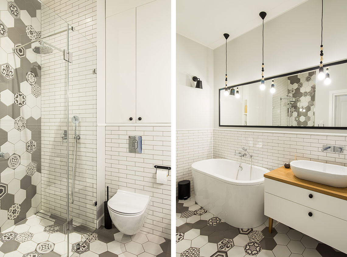 kafelki heksagony, hiszpańskie płytki łazienka