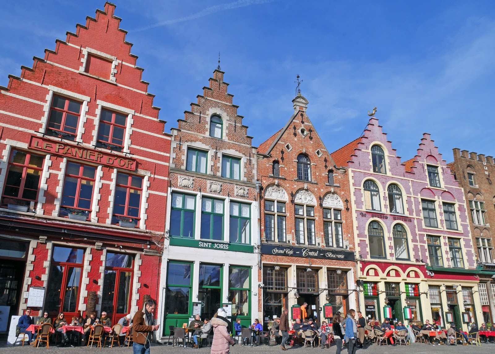 Colourful buildings in Bruges Market Square