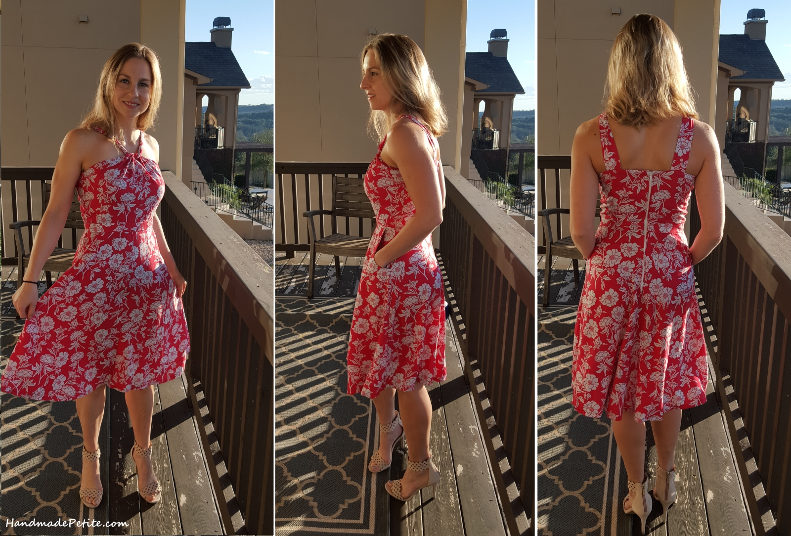 Front side and back views of the lonsdale dress in peony scarlet rayon challis print