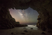 The Milky Way seen from Malibu Sea Cave