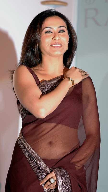 Excited Rani mukherjee hot transparent saree think, that