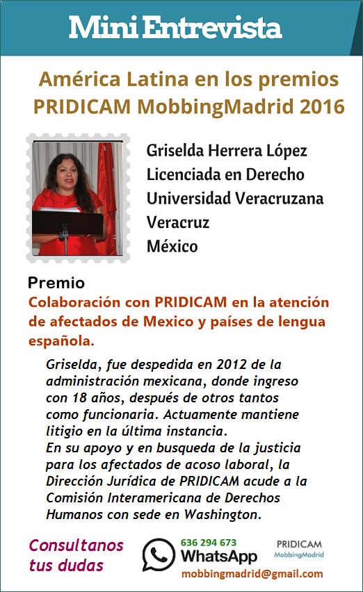 MobbingMadrid America Latina en los premios PRIDICAM Mobbingmadrid 2016