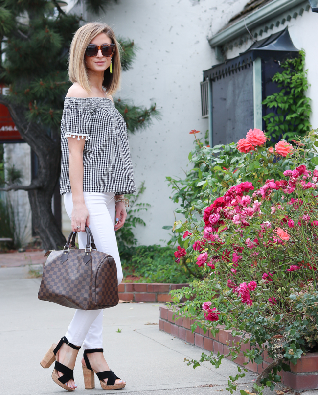 Black and white gingham pom off the shoulder top.