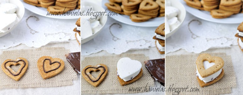 Heart Shaped Valentine's Day S'mores Recipe - via BirdsParty.com