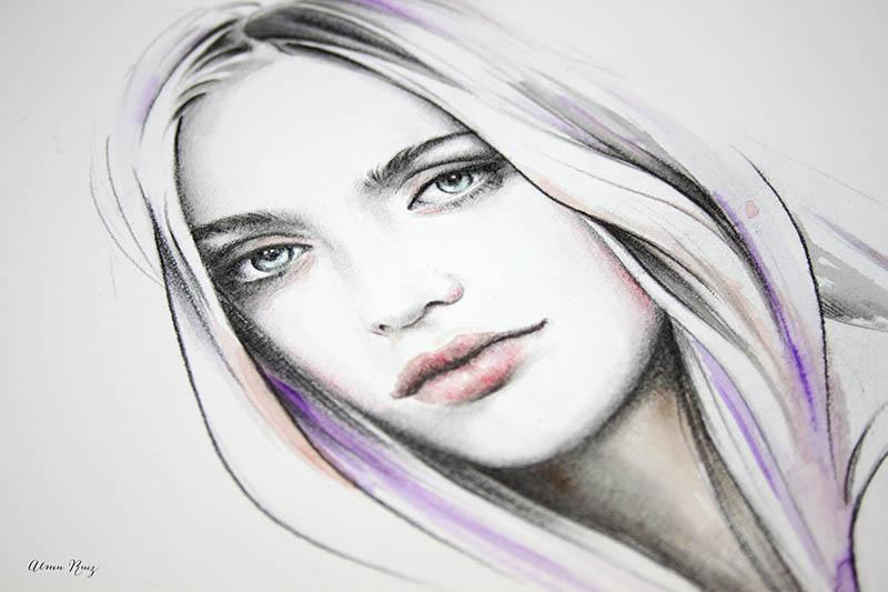 Retrato femenino a lápiz y acuarela