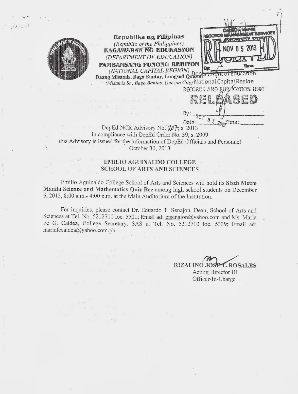 Department of Education Manila: Division Advisory No. 139