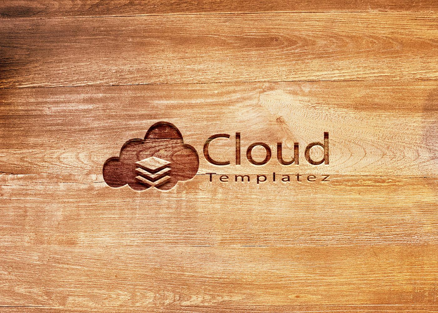 rough wood logo mockup