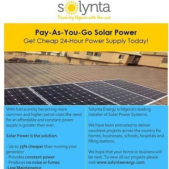 Pay-As-You-Go Solar Power, Get Cheap 24-Hour Power Supply Today Anywhere In Nigeria!
