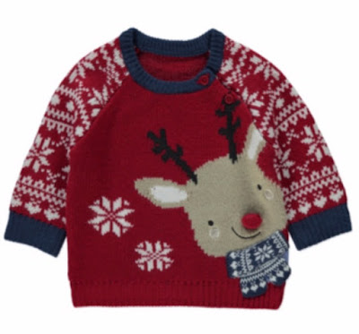 red with fairisle sleeves, reindeer with red nose