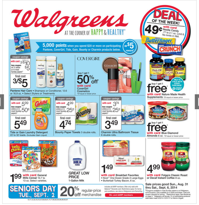 Walgreens Weekly Deals. Save up to 50% on top products and brands in beauty, vitamins, allergy, home health care, and more.