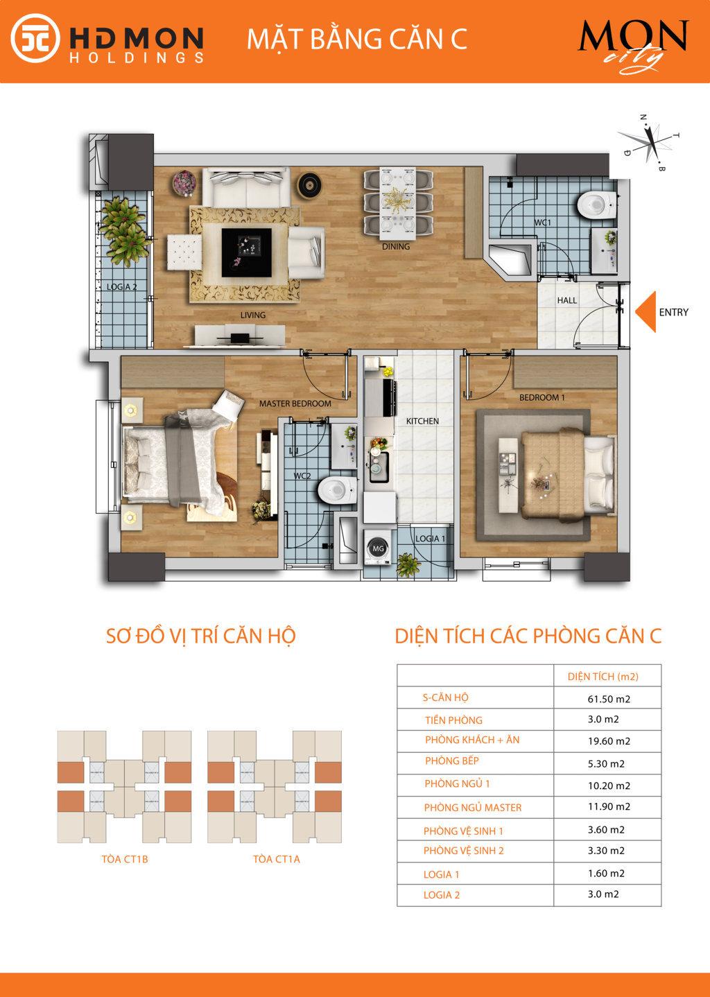 Căn hộ 61.5 m2