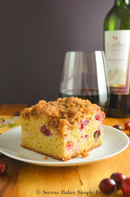 Cranberry Orange Coffeecake With Brown Sugar Crumb is the perfect holiday dessert for Thanksgiving or Christmas! serenabakessimplyfromscratch.com