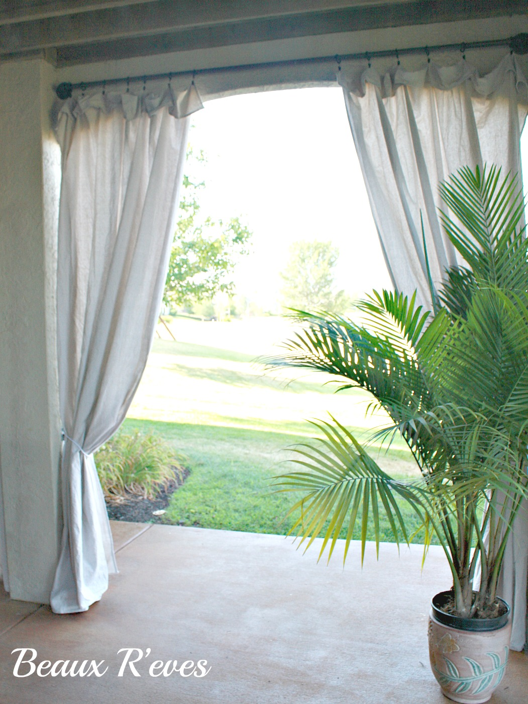Beaux R'eves: No Sew Outdoor Curtains