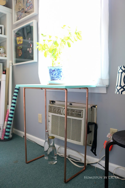 DIY copper and wood plant stand, laptop shelf - easy cheap inexpensive project