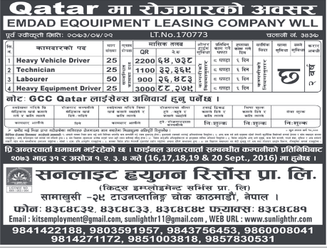 Free Visa, Free Ticket, Free Service Charge Jobs For Nepali In QATAR, Salary - Rs.88,000/