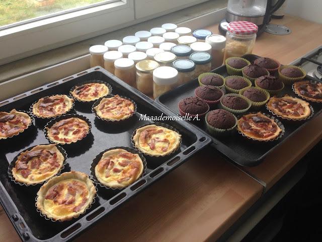 Cuisine maison : compote, mini quiches, muffins veganes