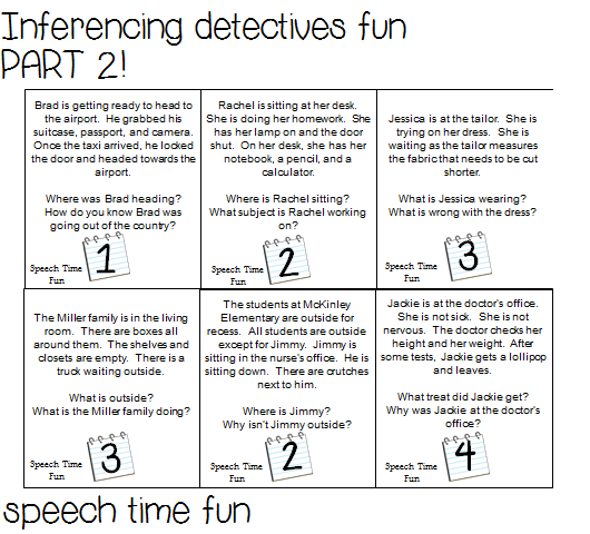 Inferencing Detectives Fun Part 2 Speech Time Fun Speech And