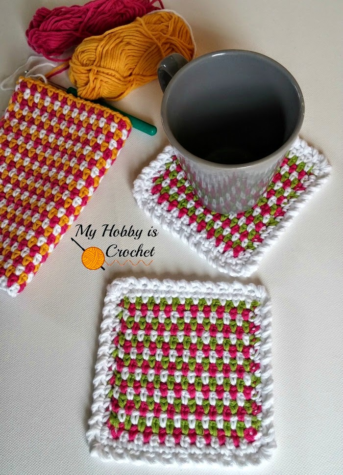 Moss Stitch Coasters - Free Crochet Pattern with Tutorial