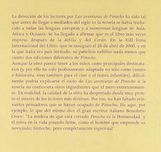 """""""Las aventuras de Pinocho"""", contratapa del libro original"""