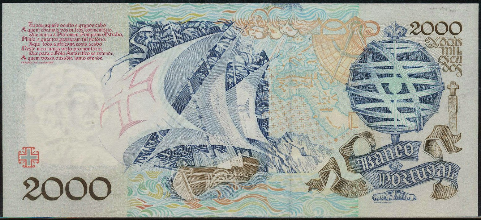 Portugal money currency 2000 Escudos banknote 1992 Sailing ship caravel