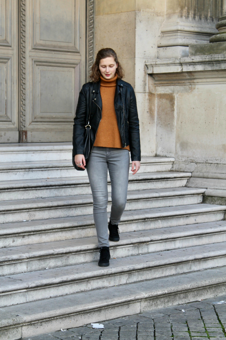 Parisian leather jacket, camel turtleneck and Vans shoes