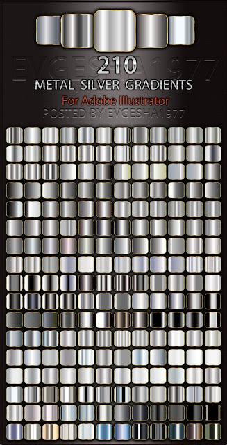 metallicheskie serebrjanye gradienty dlja illjustratr