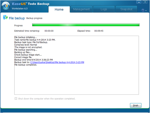 EaseUS Todo Backup Workstation data backup speed