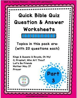 graphic regarding Printable Bible Quiz named Bible Enjoyment For Little ones: Easy Bible Quiz Element 3