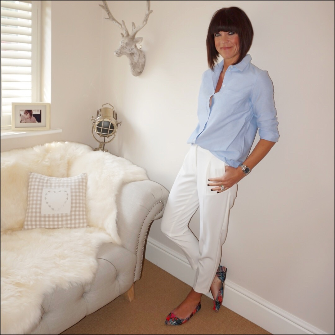 my midlife fashion, sezane tomboy shirt, marks and spencer tapered leg trousers, j crew tweed tassel pointed flats