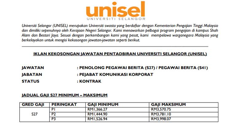 Jawatan Kosong di Universiti Selangor UNISEL 2019