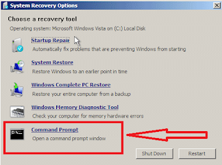system recovery option command prompt