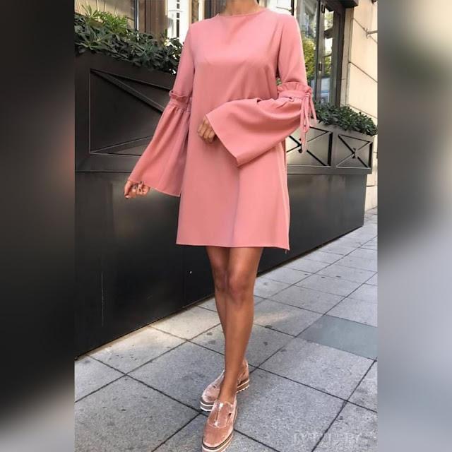 Μακρυμάνικο ροζ φόρεμα MIORA